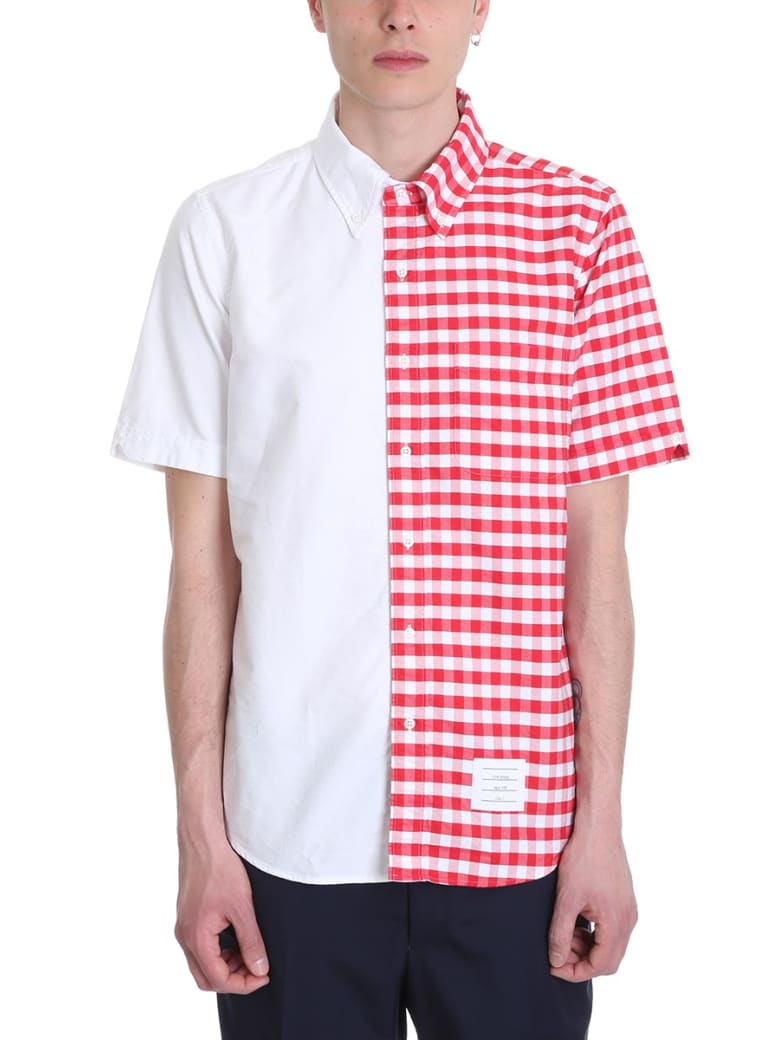 Thom Browne White And Red Cotton Bicolor Shirt - white