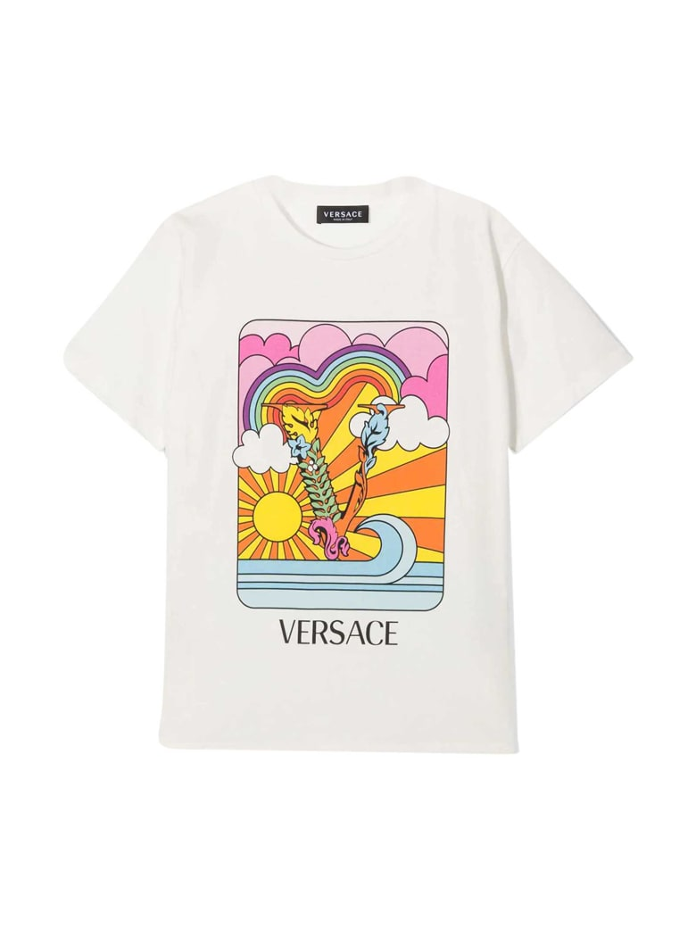 Young Versace White T-shirt With Multicolor Print - Multicolor