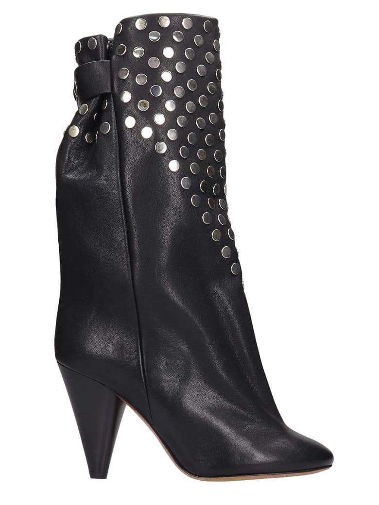 Isabel Marant Lakfee Boots In Black Leather - black