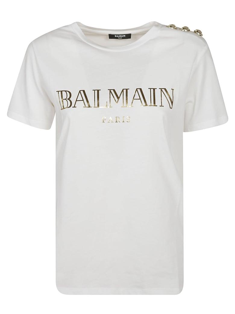 Balmain Button Embellished Logo T-shirt - White