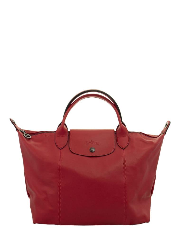 Longchamp Le Pliage Cuir - Top Handle Bag M - Red