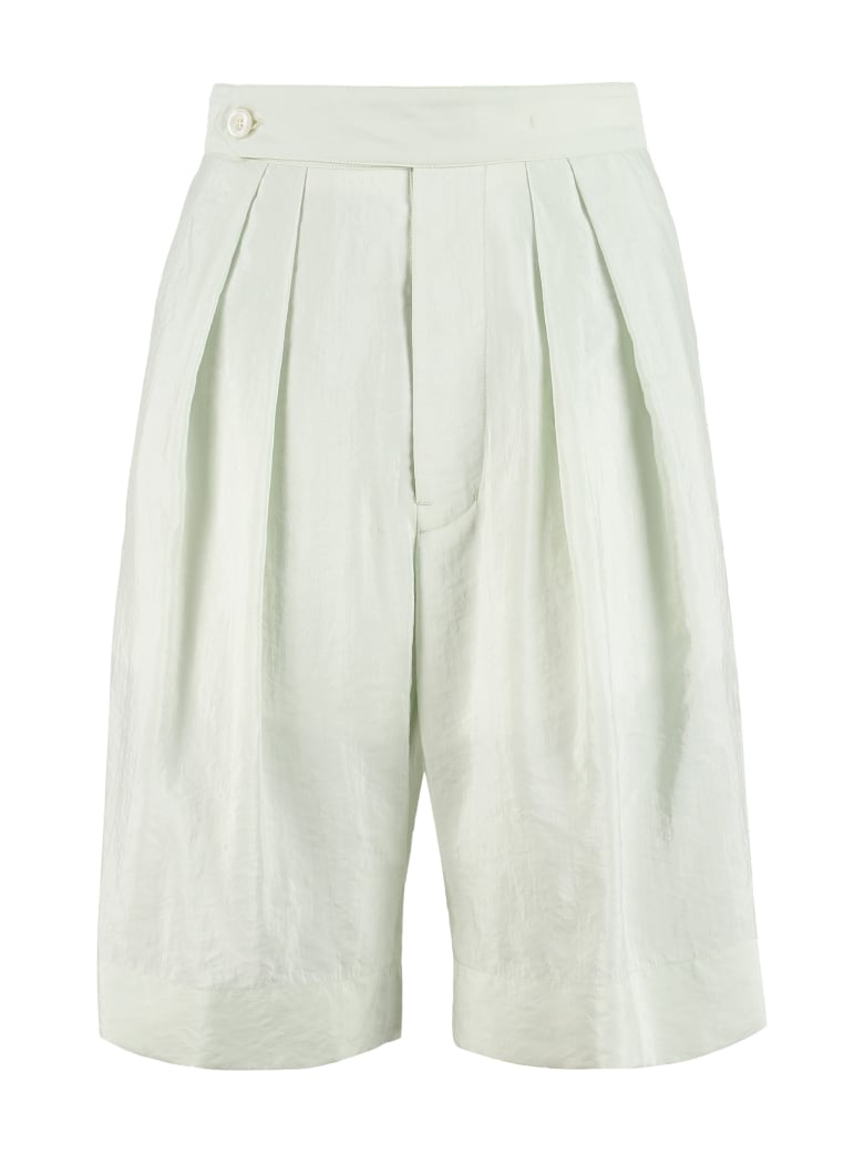 Moncler Silk-blend Bermuda-shorts - green