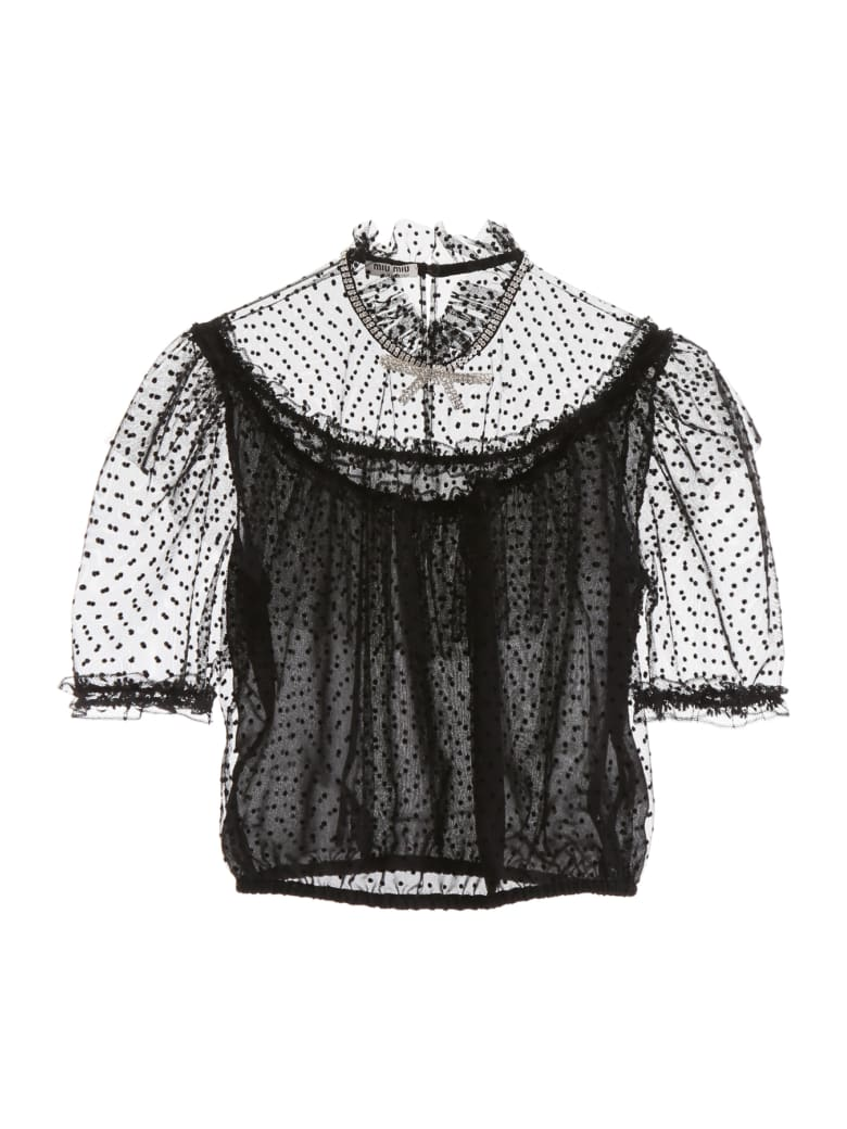 Miu Miu Crystal-embellished Tulle Top - NERO (Black)