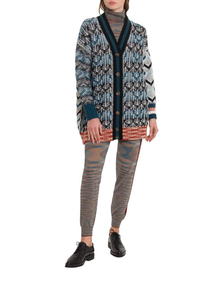 M Missoni Maxi Cardigna In Inlais Knit - Blu