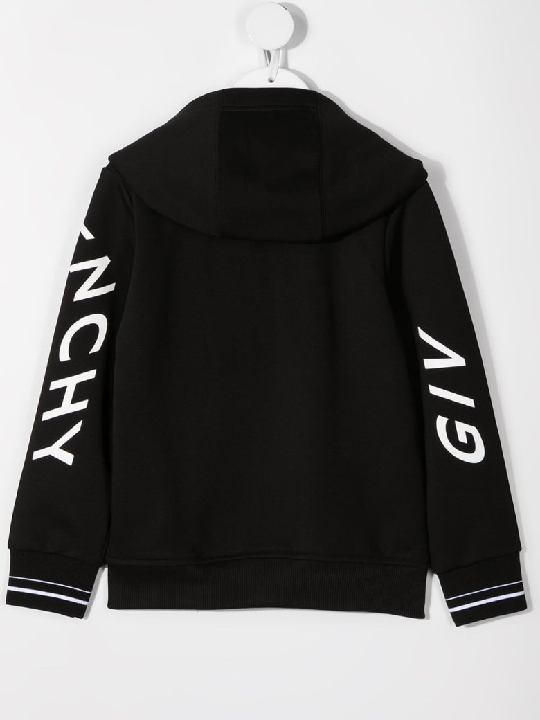 Givenchy Black Jersey Hoodie With Logo Print - Nero