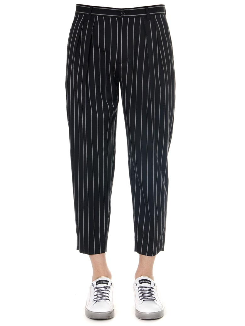 Dolce & Gabbana Black Pinstripe Stretch Wool Pants - Black