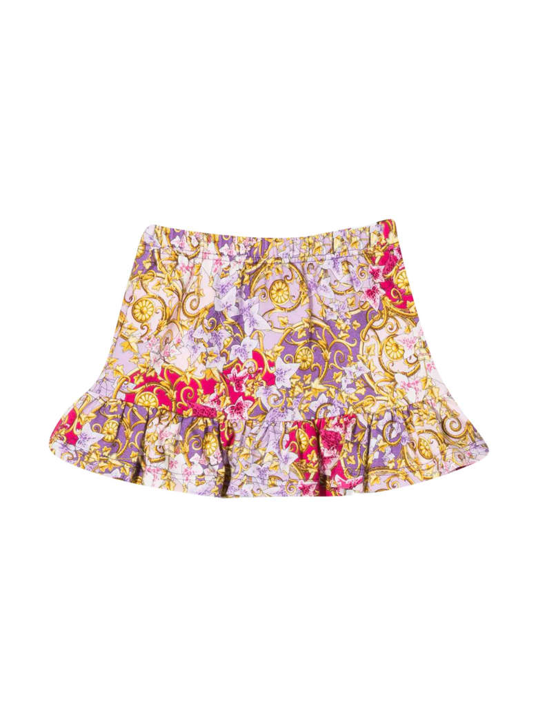 Young Versace Fuchsia Floral Skirt Baby - Fuxia