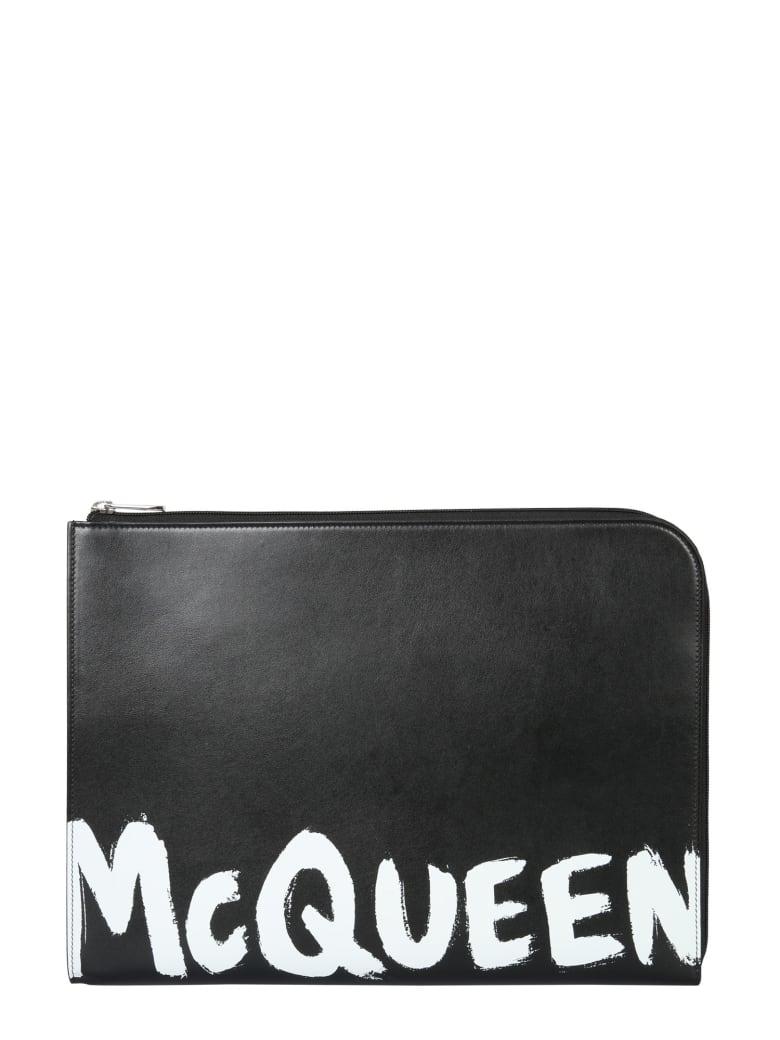Alexander McQueen Pouch With Logo - Blackwhite