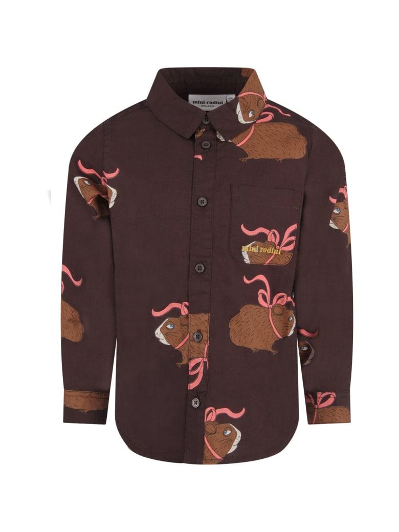 Mini Rodini Brown Kids Shirt With Colorful Guinea Pigs - Brown