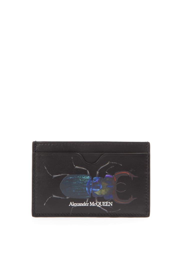 Alexander McQueen Bug Black Leather Cardholder - Black/multicolor