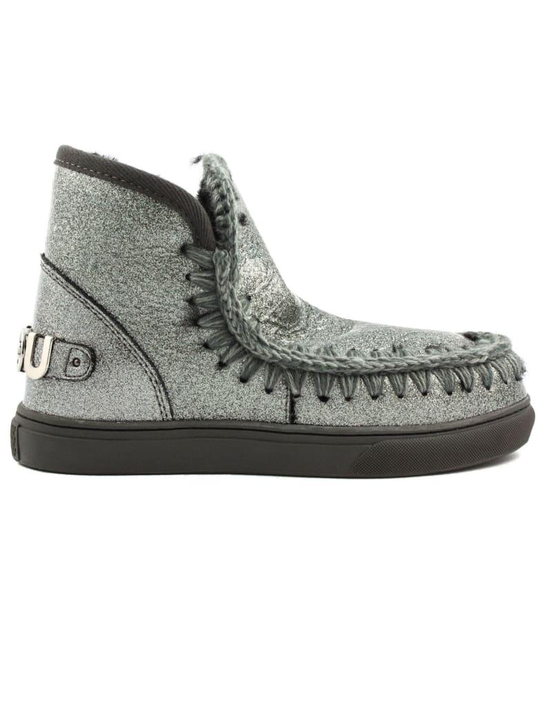 Mou Eskimo Sneaker In Silver Glitter - Argento