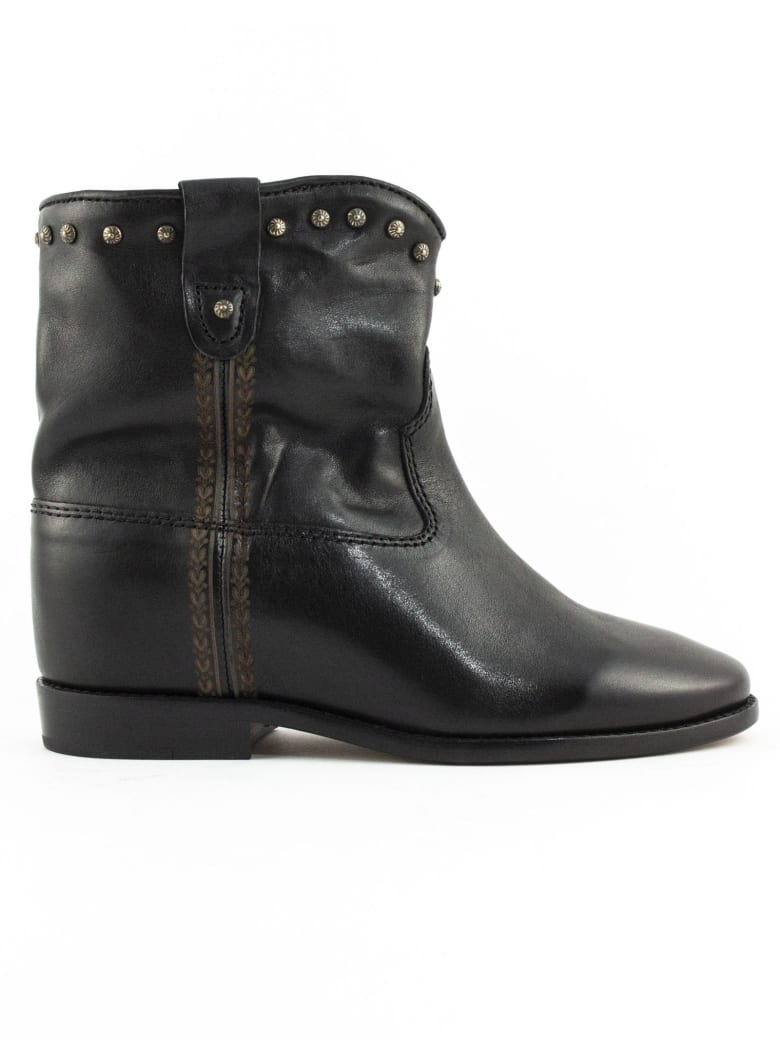 Isabel Marant Black Leather Cluster Ankle Boots - Nero