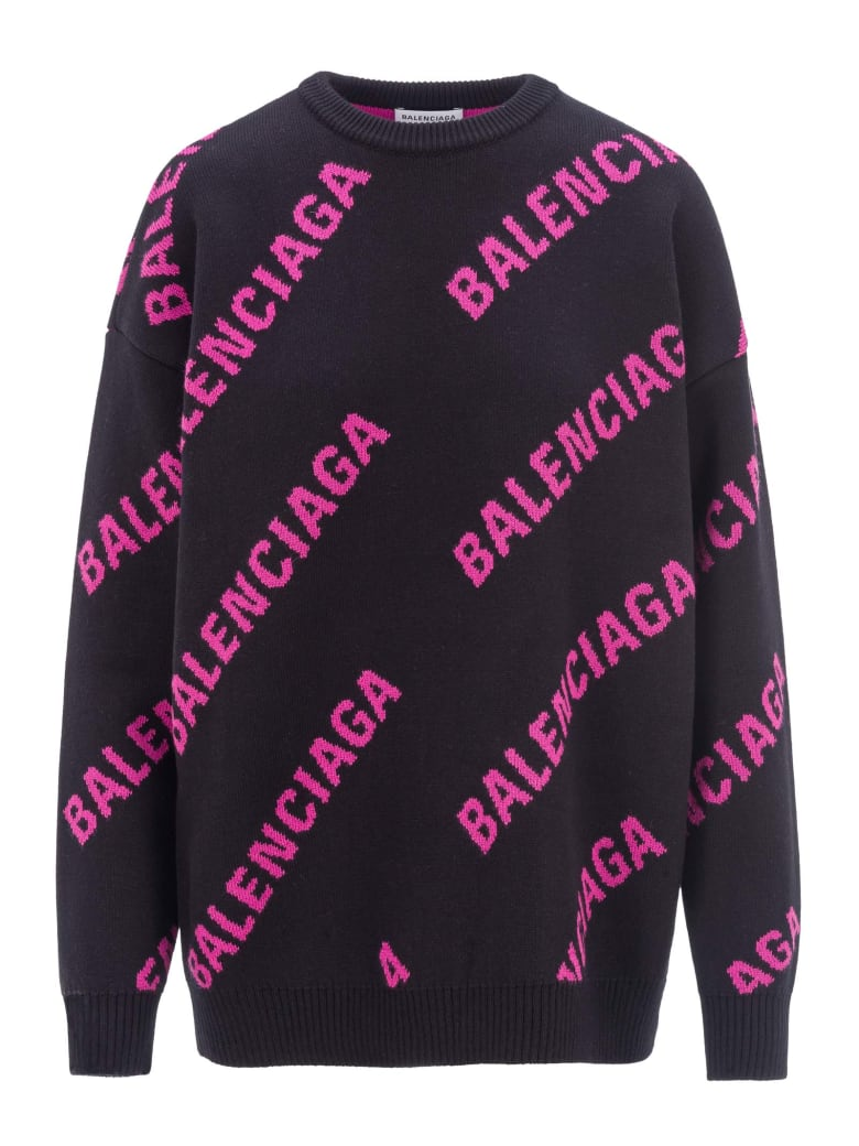 Balenciaga All Over Logo Sweater - BLACK FUCHSIA