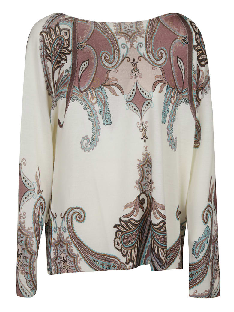 Blumarine Wide Neck Printed Top - Natural