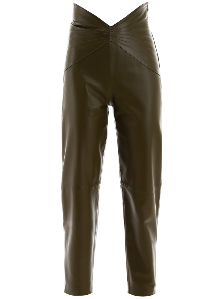 The Attico Butterfly Leather Pants - VERDE MILITARE (Green)