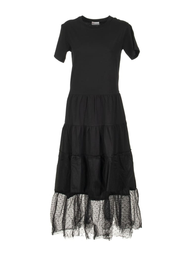 RED Valentino Black Cotton Dress With Tulle - Black