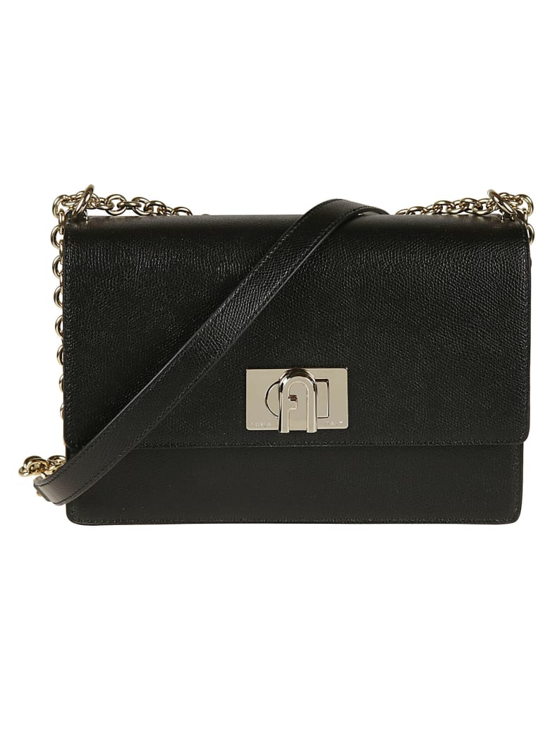 Furla Classic Flap Chain Shoulder Bag - Black