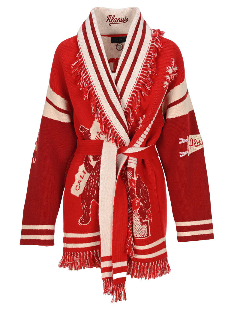 Alanui La Scala Intarsia-knit Cardigan - RED WHITE