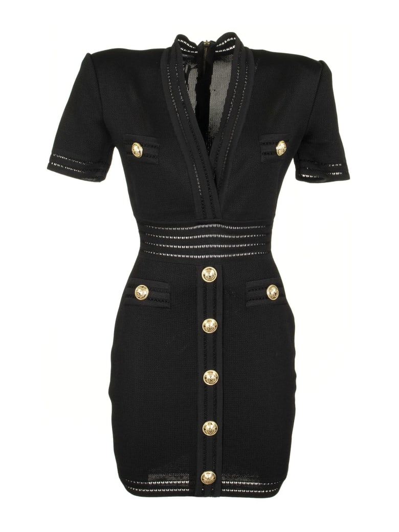 Balmain Short Black Knit Dress Black - Black