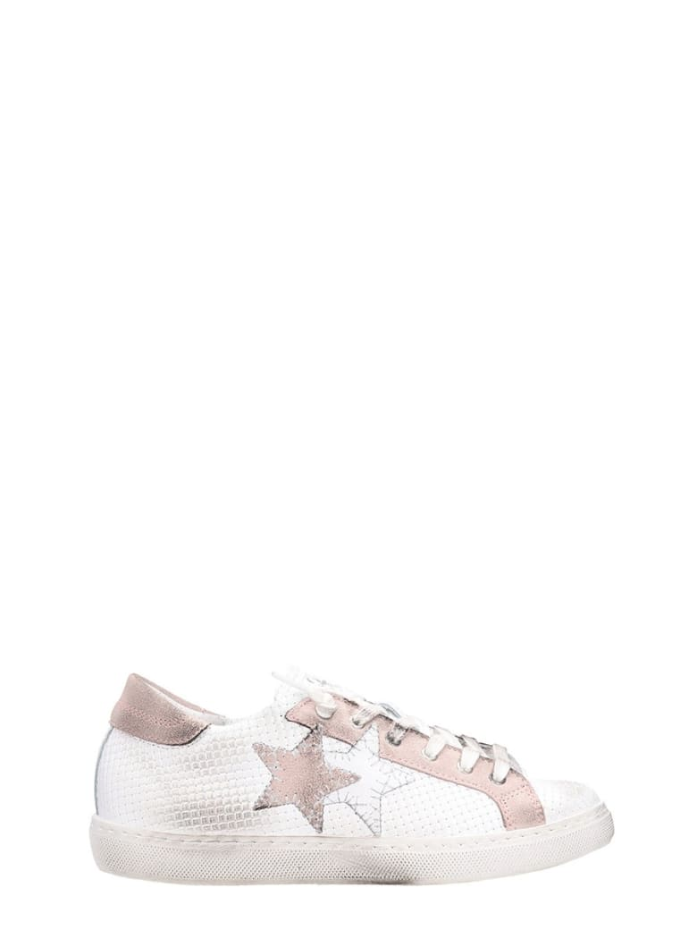 2Star Low White Pink Leather Sneakers - white