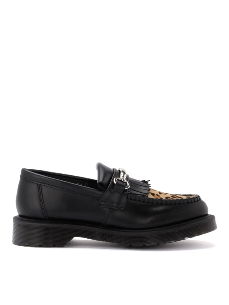 Dr. Martens Adrian Moccasin Shoe In Black Leather And Details In Leopard Calf
