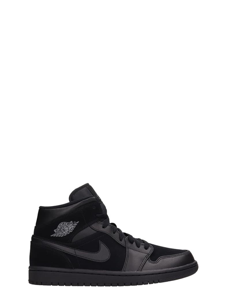 Nike Air Jordan 1 Mid Leather And Suede Sneakers - black