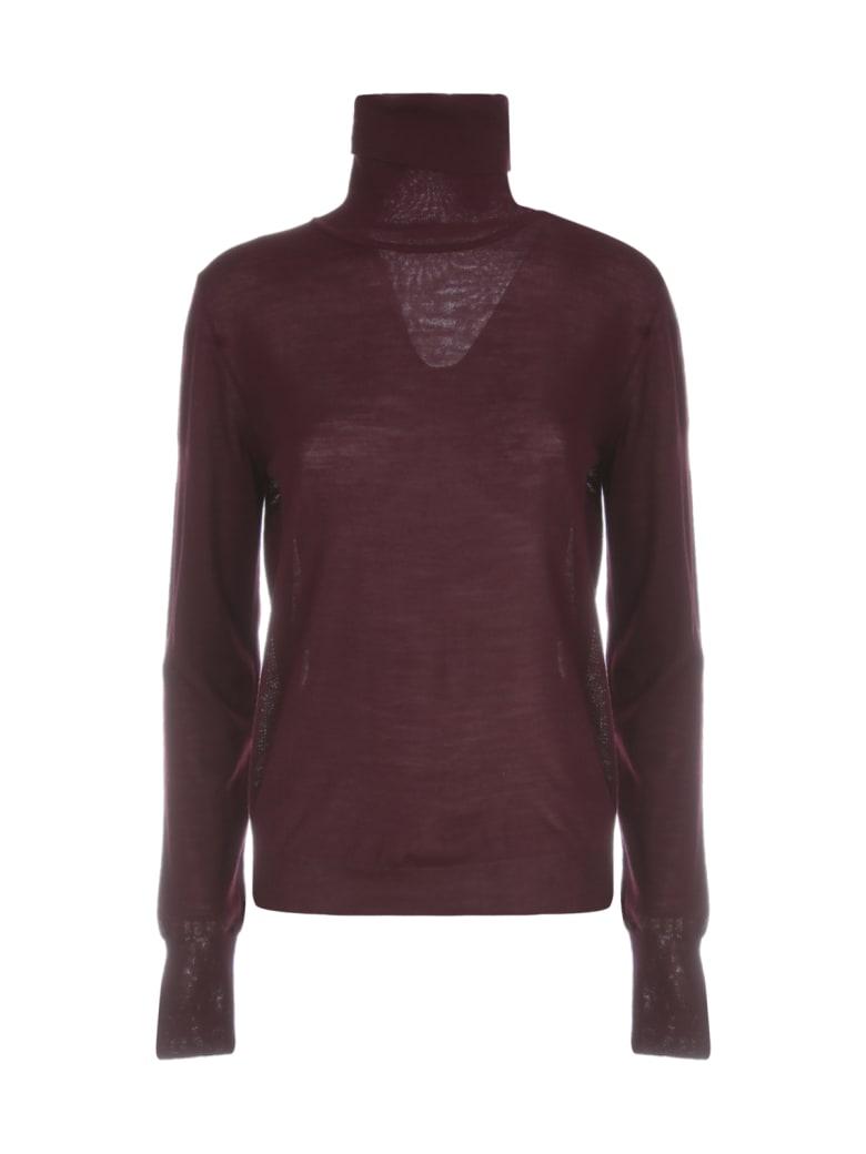 Nuur High Neck 100% Merino Wool Sweater - Bordeaux