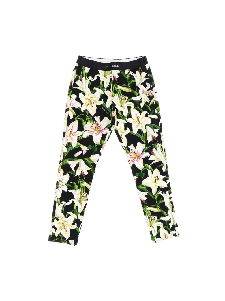 Dolce & Gabbana Leggings With Lilies Print - Nero