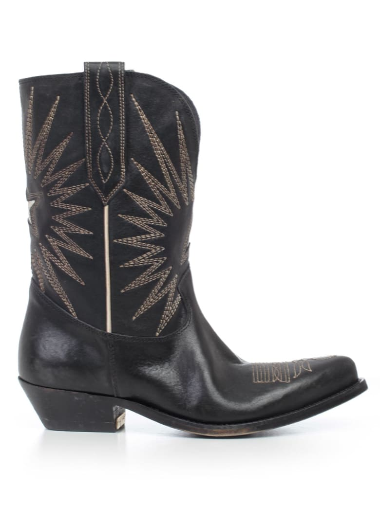 Golden Goose Wish Star Boots - Black Leather