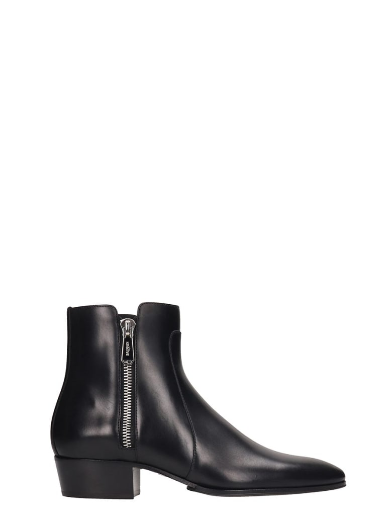 Balmain Ankle Boots In Black Leather - black