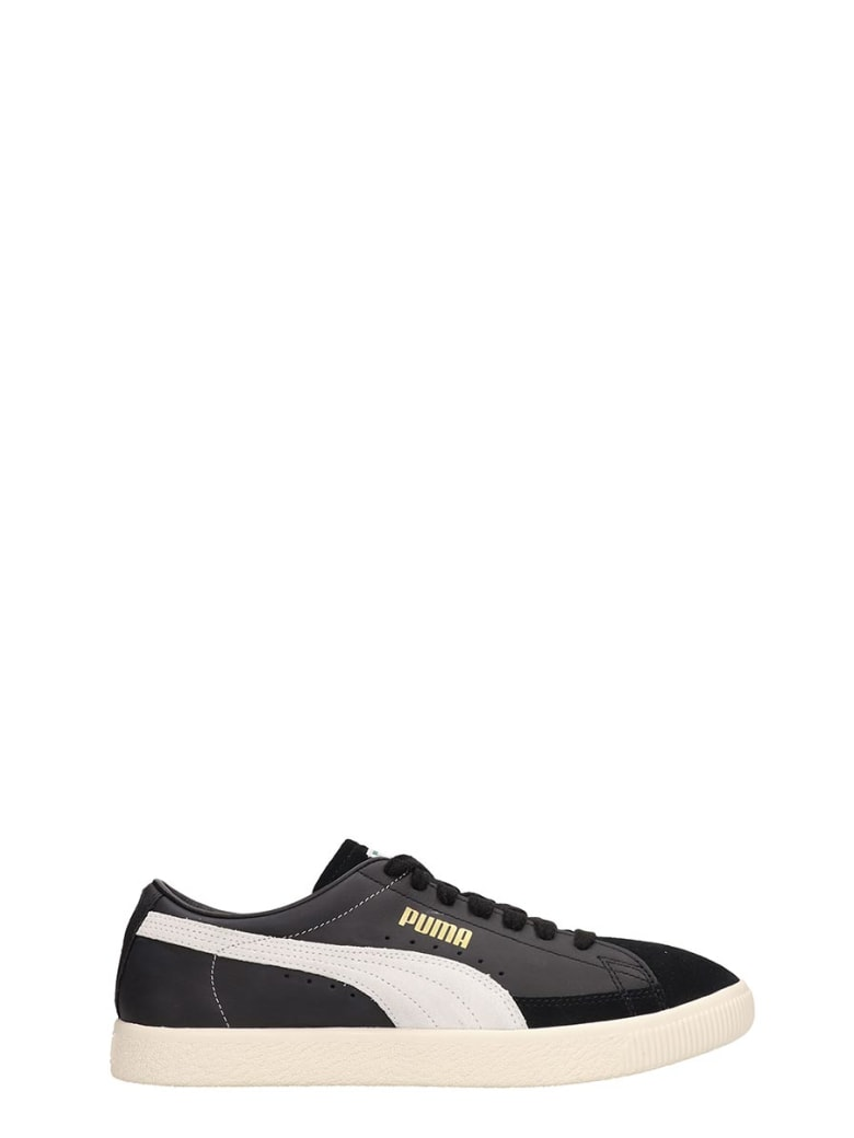 Best price on the market at italist | Puma Puma Basket 90680 Black Leather And Suede Sneakers