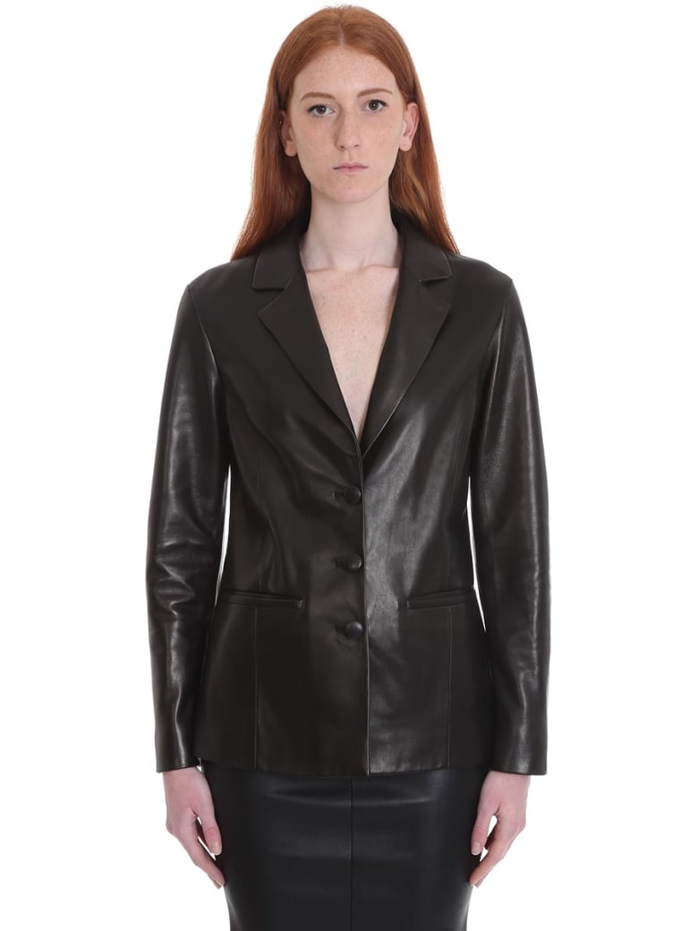 DROMe Leather Jacket In Black Leather - black