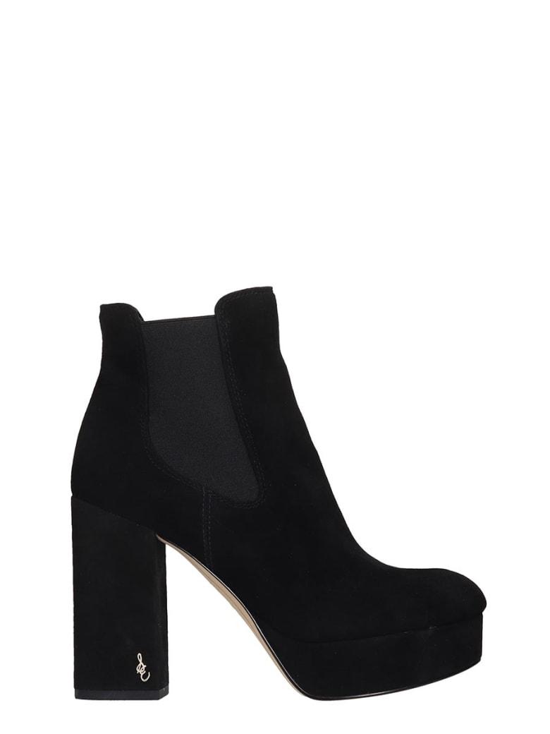 Sam Edelman Abella High Heels Ankle Boots In Black Suede - black