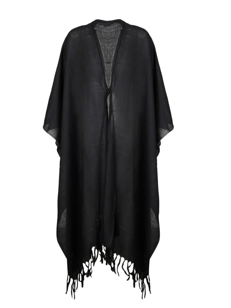 Saint Laurent Tassels Poncho - Black