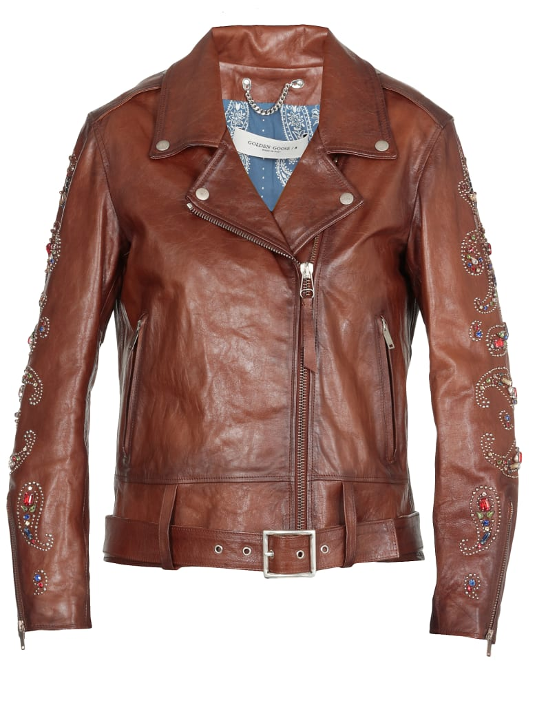 Golden Goose Leather Jacket - BROWN