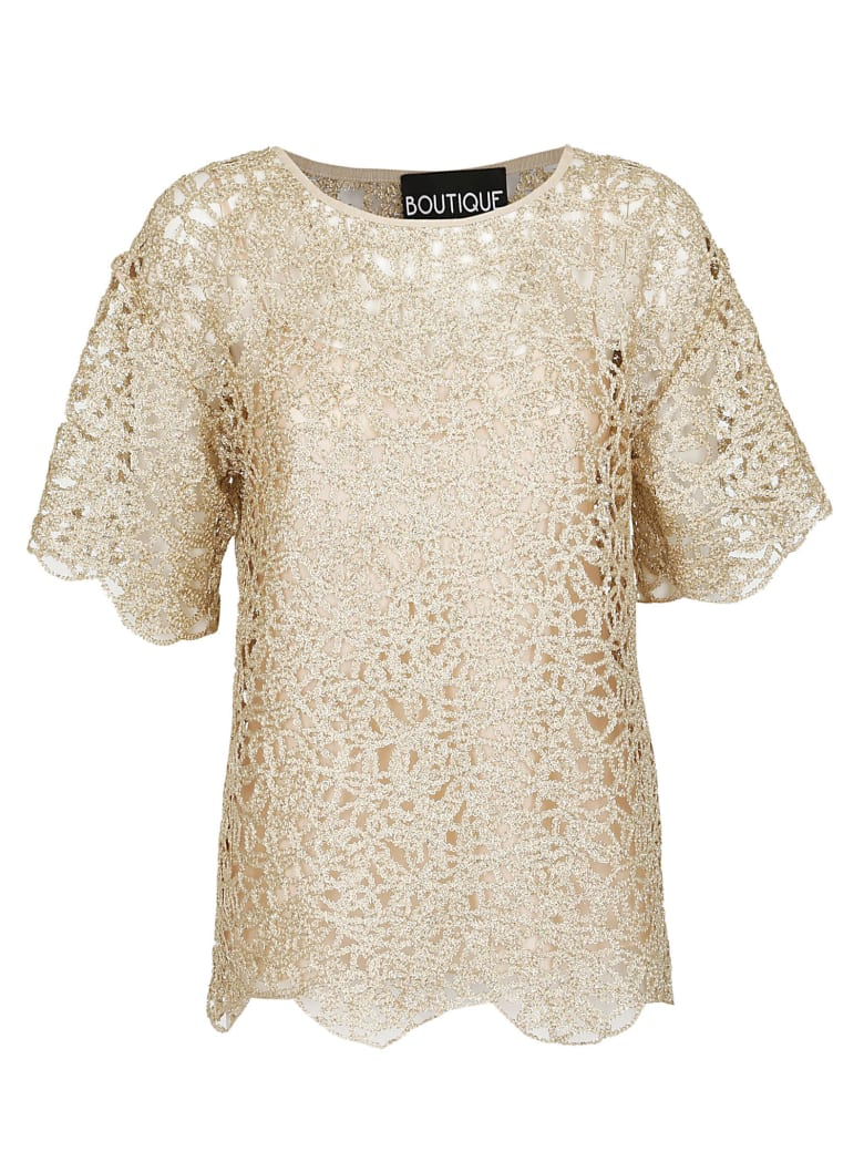 Boutique Moschino Scalloped Top - Gold
