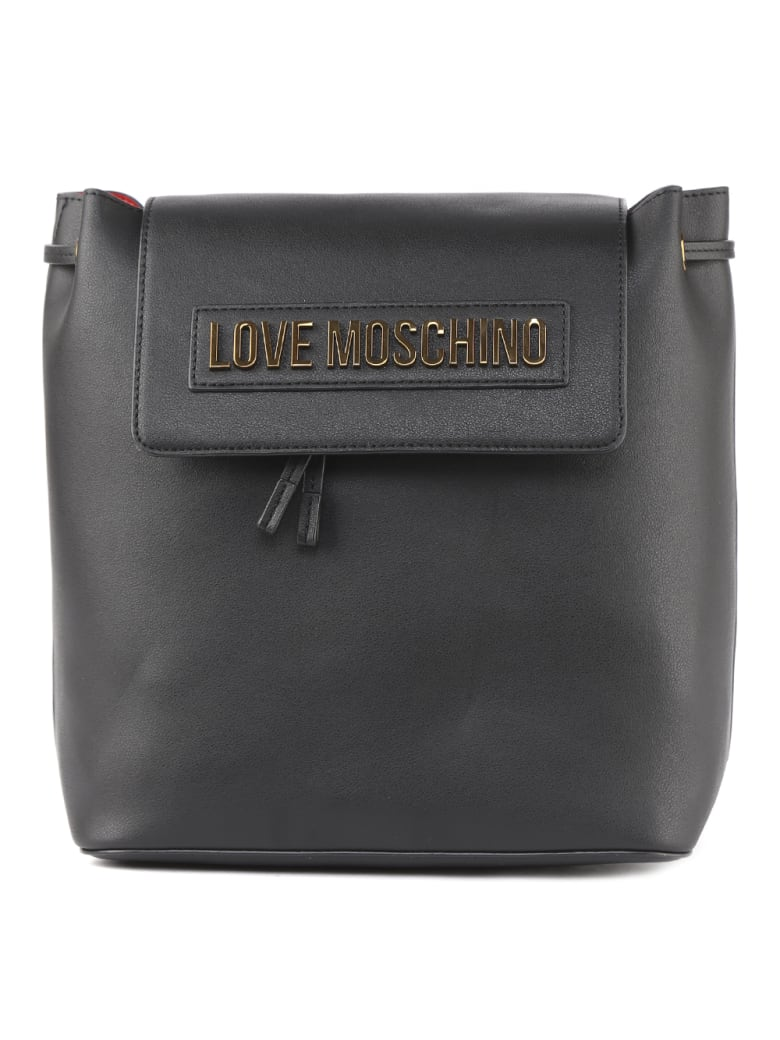 Love Moschino Black Faux Leather Logo Backpack - Black