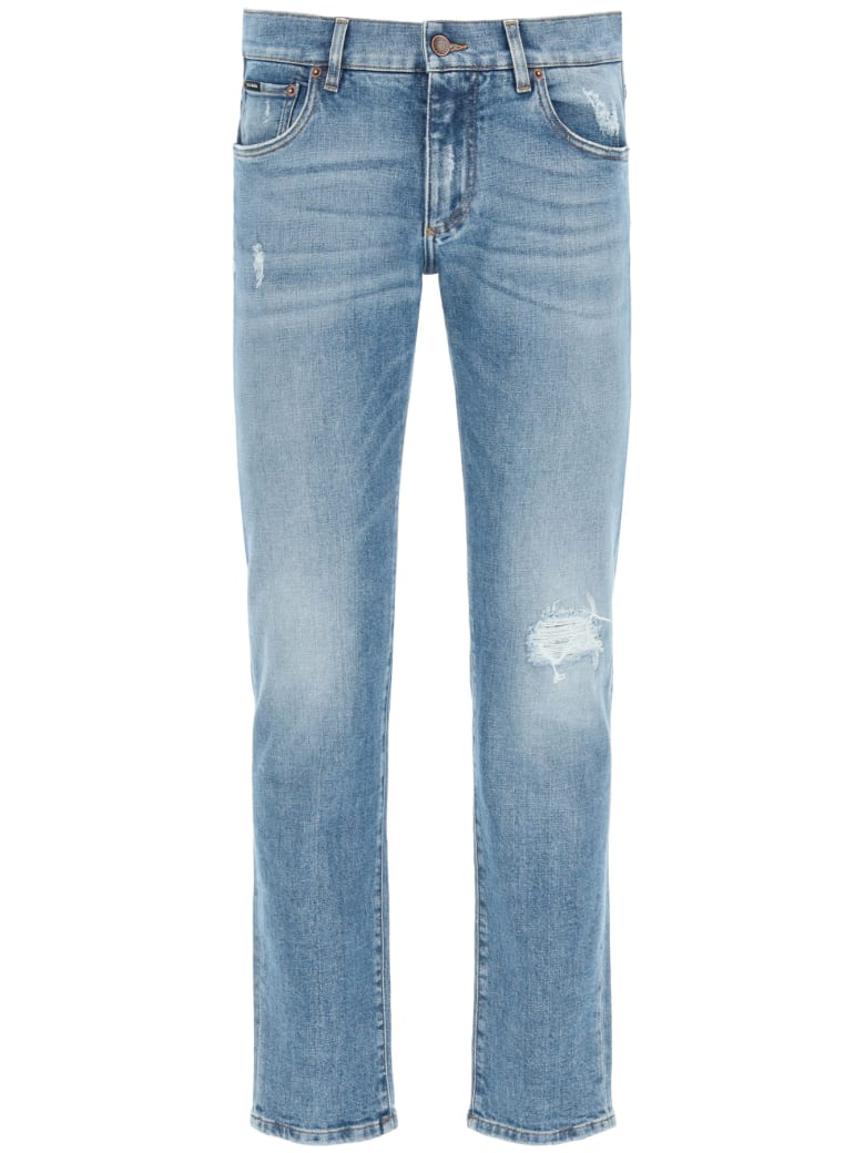Dolce & Gabbana Slim Fit Jeans With Rips - Blu