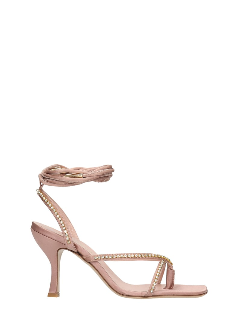 GIA COUTURE Sandals In Rose-pink Satin - rose-pink
