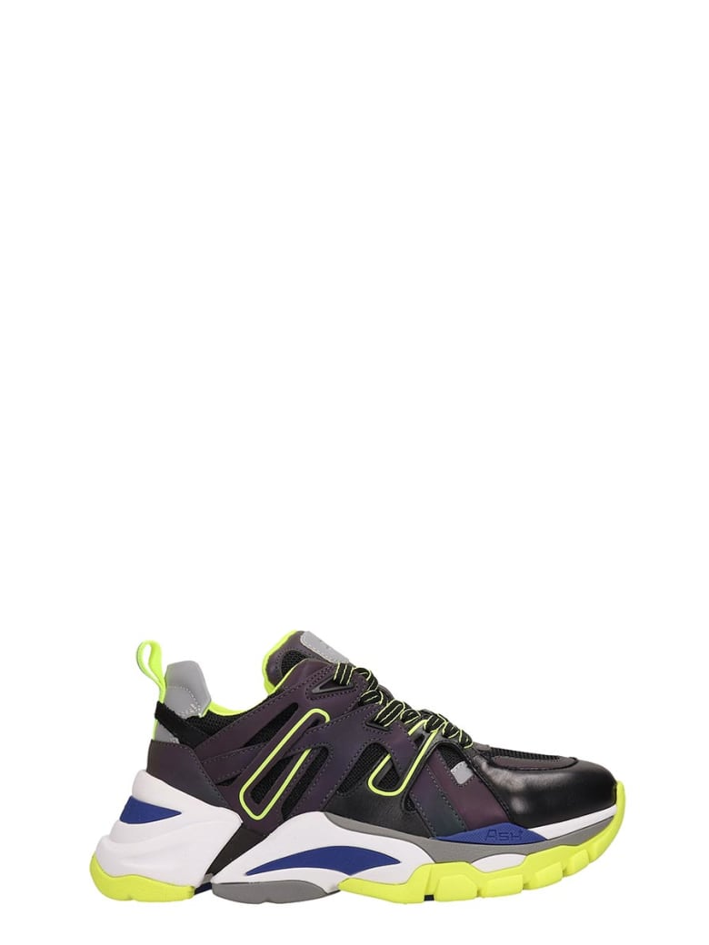 Ash Grey And Yellow Fluo Mesh Flash Sneakers - grey
