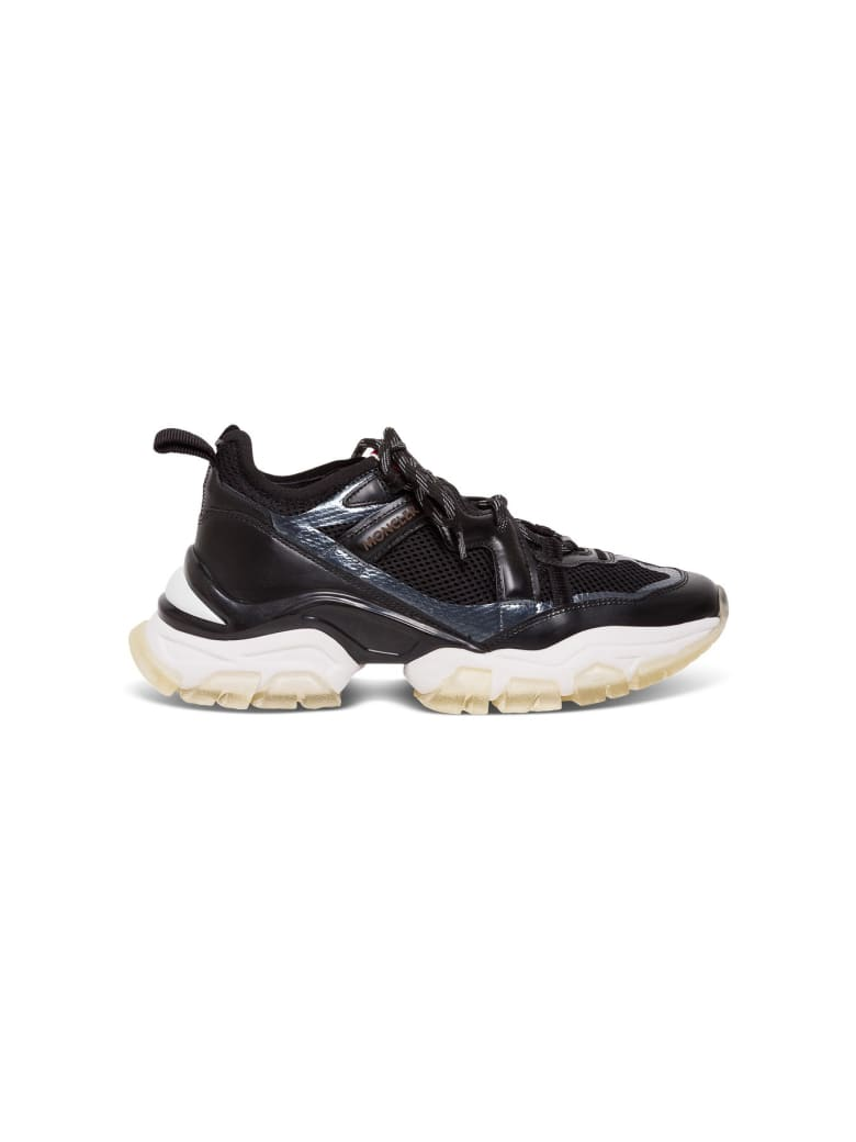 Moncler Sneakers In Black Leather And Mesh - Black