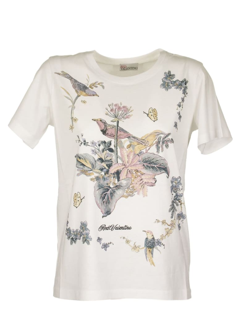 RED Valentino White T-shirt With Floral Print - White