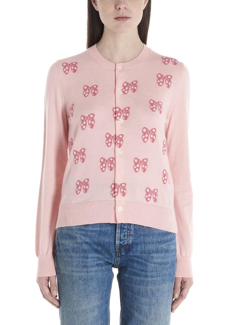 Comme Des Garçons Girl 'minnie Bows' Cardigan - Pink