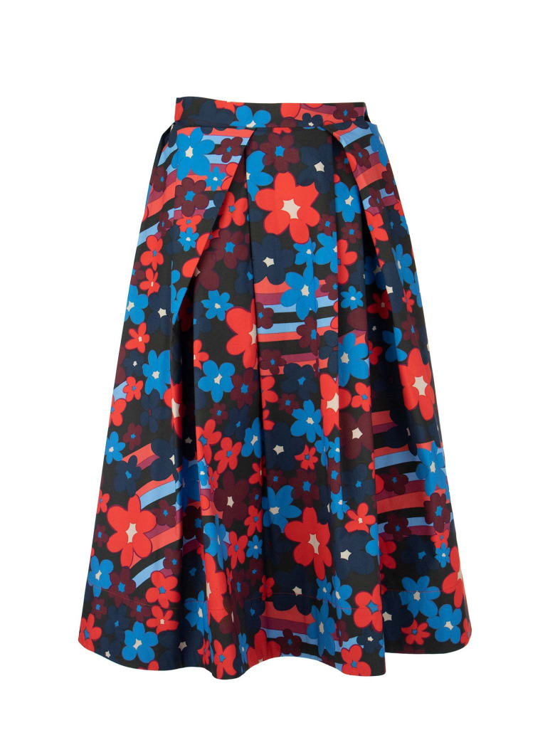 Marni Rainbow Flower Print Cotton Full Skirt - Multicolor