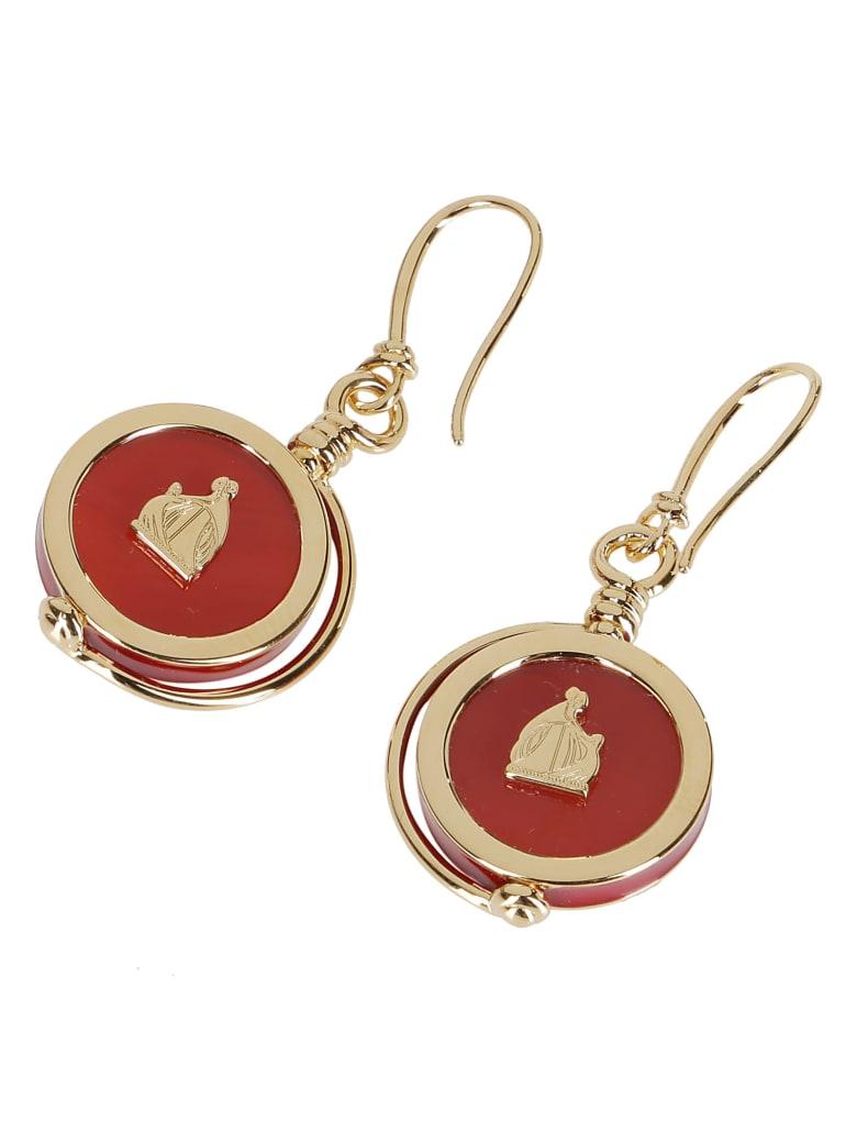 Lanvin Gold-tone Brass And Carnelian Earrings - Orange
