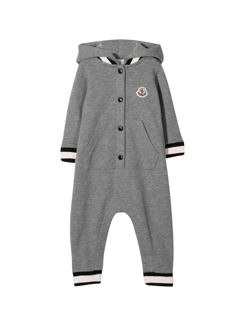 Moncler Grey Romper With Hood - Unica