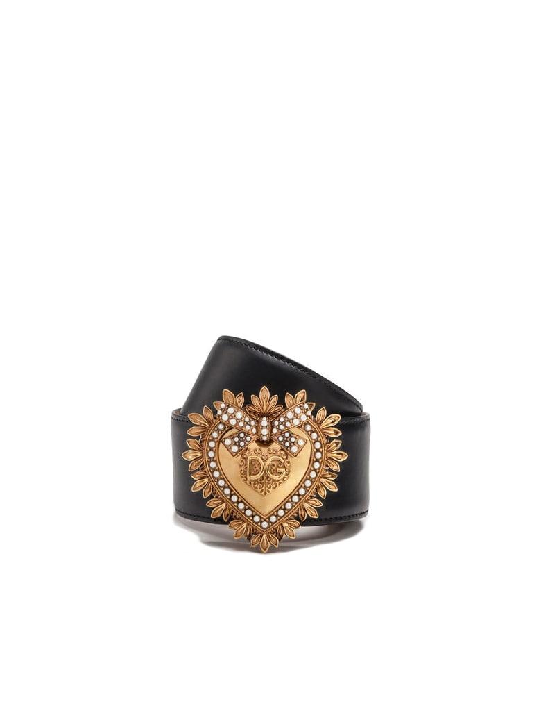 Dolce & Gabbana Leather  Devotion Logo Cuir - Black