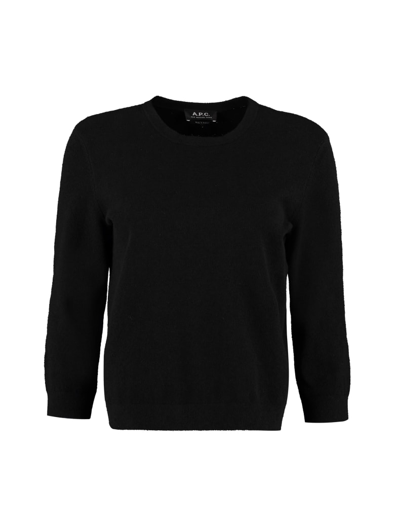 A.P.C. Zoe Crew-neck Cotton Blend Sweater - black