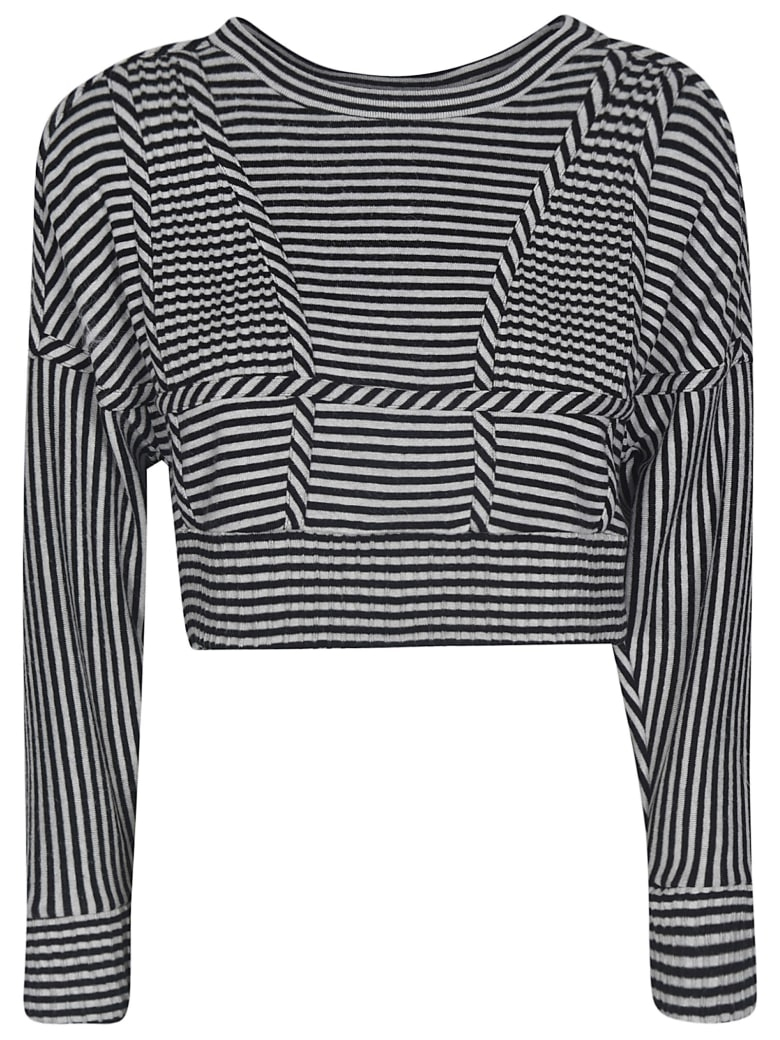 Giovanni Bedin Striped Cropped Top - Grey