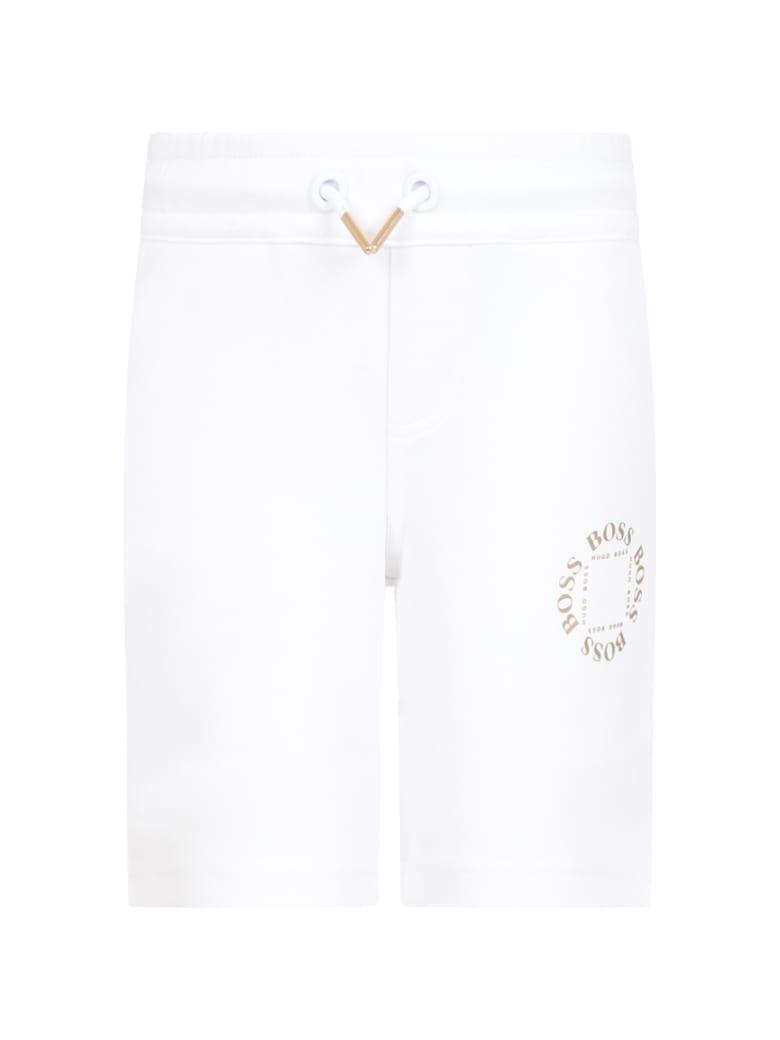Hugo Boss White Short For Boy With Logos - White